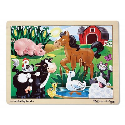 Melissa&Doug Puzzle din lemn cu 12 piese Ferma