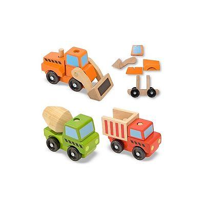 Melissa&Doug Vehicule utilitare pentru constructii din lemn
