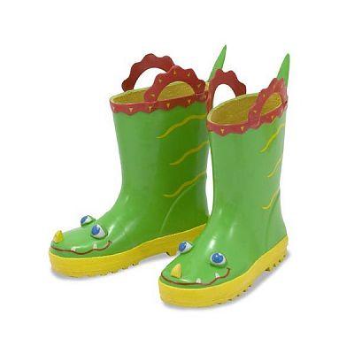 Melissa&Doug Cizme de ploaie pentru copii Augie Aligator, marime 29-31
