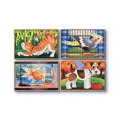 Melissa&Doug Set 4 puzzle lemn in cutie - Animale de companie