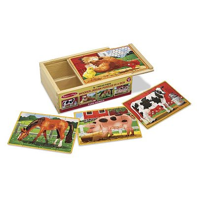 Melissa&Doug Set 4 puzzle lemn in cutie - Animale domestice