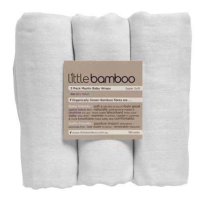 LITTLE BAMBOO Muselina din bambus organic pentru infasat - 3 buc (120*120 cm)