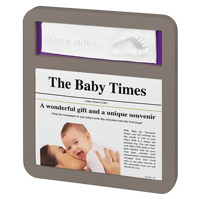 Baby Art Newsprint taupe lime/plum