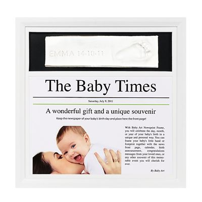 Baby Art Newsprint frame white & black