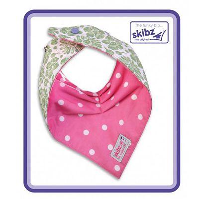 Skibz Baveta/Esarfa bebe Doublez Green Floral/Polka Dot Pink