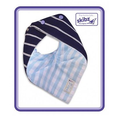 Skibz Baveta/Esarfa bebe Doublez French Stripe/Pale Blue Gingham