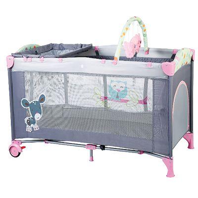 BabyGo Patut pliant cu 2 nivele SleepWell Pink