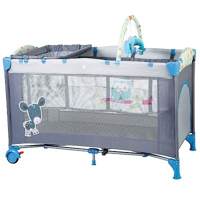 BabyGo Patut pliant cu 2 nivele SleepWell Blue