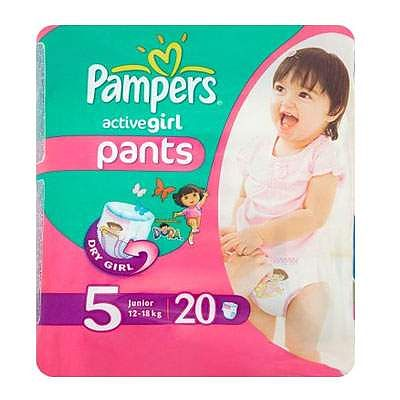 Pampers Scutece nr. 5 Active Girl Pants, 12-18 kg, 20 bucati