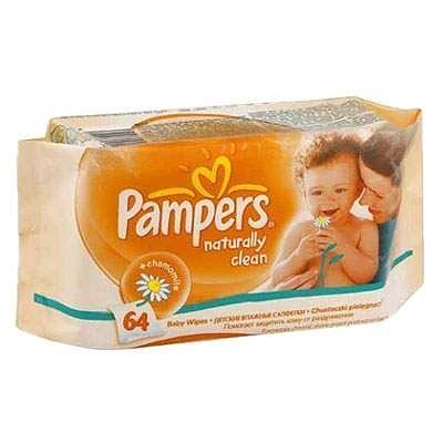 Pampers Servetele Naturally Clean, 64 bucati