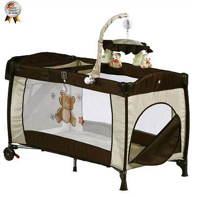 BabyGo Patut pliant cu 2 nivele si mini-carusel Sleeper Deluxe Maro