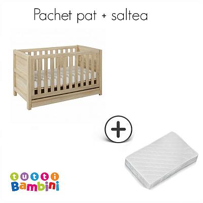 Tutti Bambini Set patut + salteluta pentru bebelusi Milan Reclaimed Oak