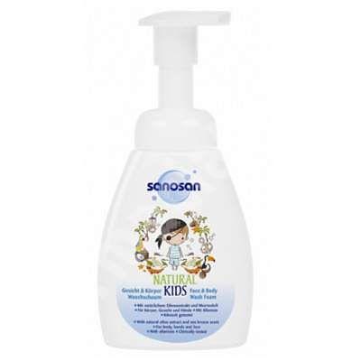 Sanosan NATURAL KIDS Spuma de curatare pentru corp si fata pentru baieti, 250 ml