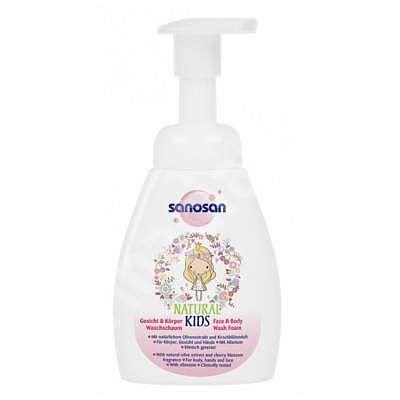 Sanosan NATURAL KIDS Spuma de curatare pentru corp si fata pentru fetite, 250 ml