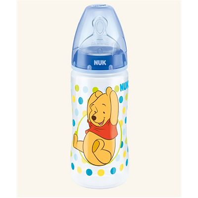 Nuk Disney Winnie the Pooh Biberon First Choice Plus din PP 300 ml+Tetina silicon orificiu Mediu mar.1(0