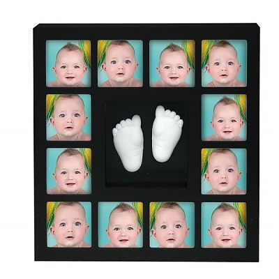 Kidzzcast Rama foto cu mulaj 3D 'My First 12 Months Wall of Fame' Negru