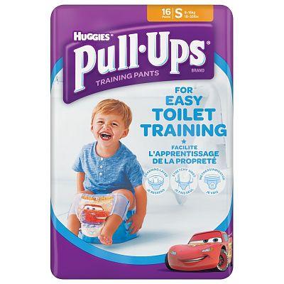 Huggies Chilotei pentru baieti trecerea la olita Pull Ups, Marimea S, 8-15 kg, 16 bucati