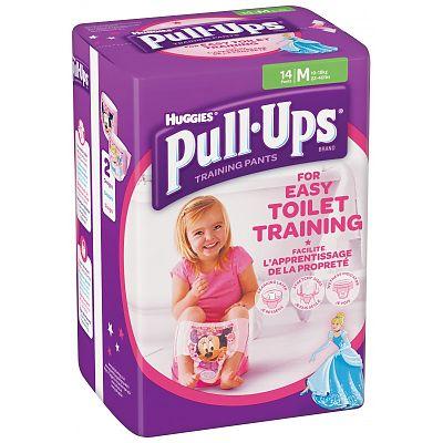 Huggies Chilotei pentru fete trecerea la olita Pull Ups, Marimea M, 11-18 kg, 14 bucati