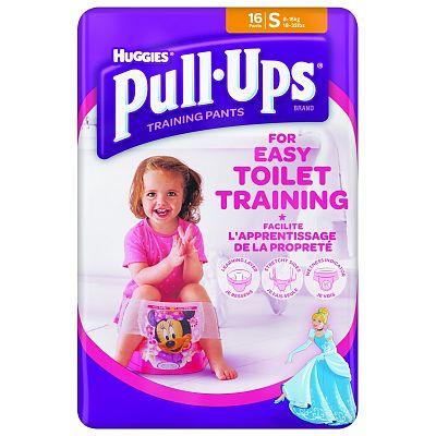 Huggies Chilotei pentru fete trecerea la olita Pull Ups, Marimea S, 8-15 kg, 16 bucati