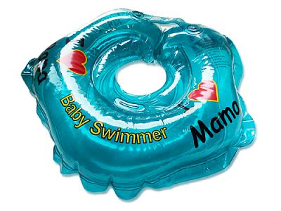 BabySwimmer Colac de gat pentru inot ALBASTRU - I LOVE MAMA 0-24 luni