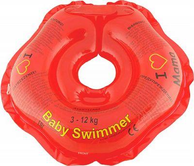 BabySwimmer Colac de gat pentru inot 0-24 luni (3-12kg) ROSU I LOVE MAMA