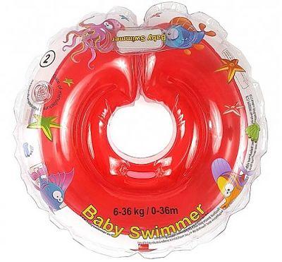 BabySwimmer Colac de inot pentru gat CLASIC 0-36 luni (6-16 kg) ROSU