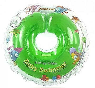 BabySwimmer Colac de inot pentru gat CLASIC 0-36 luni (6-16 kg) VERDE