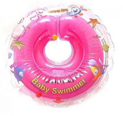 BabySwimmer Colac de inot pentru gat CLASIC cu zornaitoare 0-36 luni (6-16 kg) ROZ