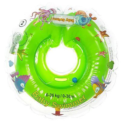 BabySwimmer Colac de inot pentru gat CLASIC cu zornaitoare 0-36 luni (6-16 kg) VERDE