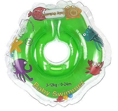 BabySwimmer Colac de inot pentru gat cu zornaitoare 0-24 luni (3-12kg) VERDE