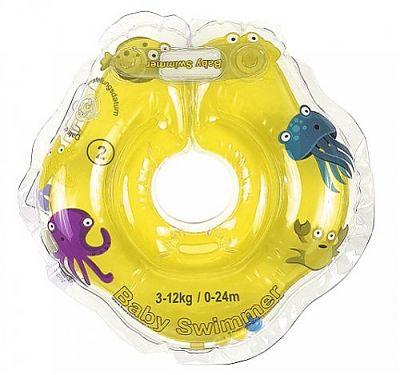 BabySwimmer Colac de inot pentru gat cu zornaitoare 0-24 luni (3-12kg) Galben