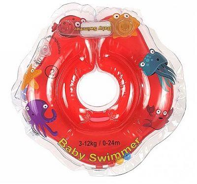 BabySwimmer Colac de inot pentru gat cu zornaitoare 0-24 luni (3-12kg) ROSU