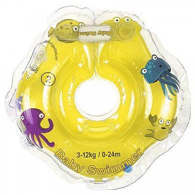 BabySwimmer Colac de gat pentru inot Galben Jumatate Transparent 0-24 luni (3-12Kg)