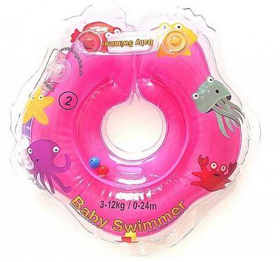 BabySwimmer Colac de gat pentru inot-Roz Jumatate Transparent 0-24 luni (3-12 kg)