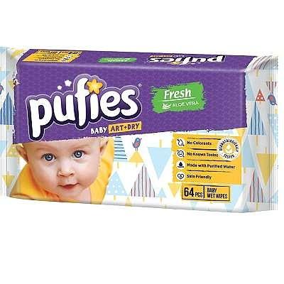 pufies Șervețele umede Pufies Baby Art Fresh ( CU ALOE), +0luni, 64 bucăți