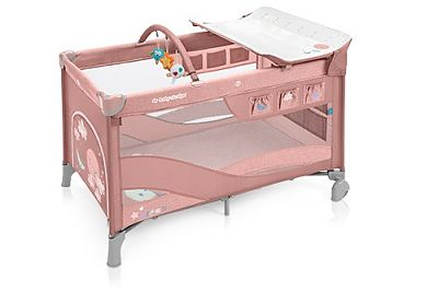 Baby Design Patut pliant cu 2 nivele Dream 08 Pink 2019