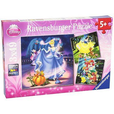 Ravensburger Puzzle Alba Ca Zapada, Cenusareasa Si Ariel, 3X49 Piese