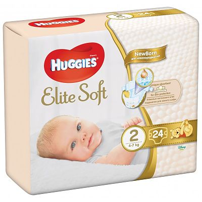 Huggies Scutece bebelusi NewBorn, Elite Soft Nr.2 (24) 4-7kg
