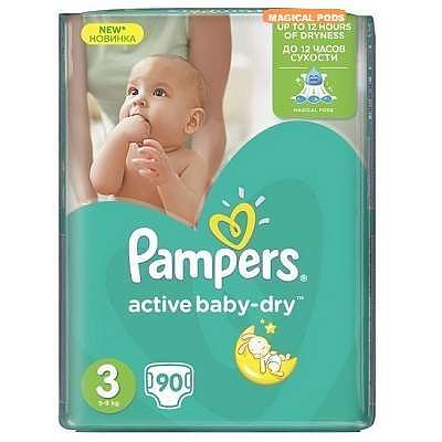 Pampers Scutece nr. 3 Active Baby Midi, 4-9 kg, 90 bucati