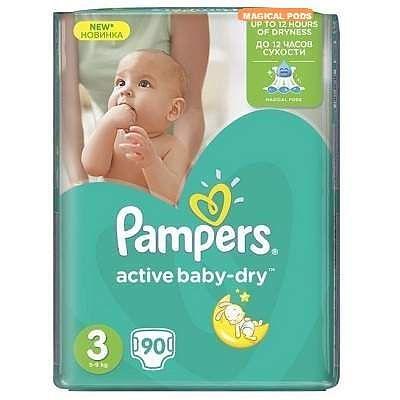 Pampers Scutece nr. 3 Active Baby Midi, 4-9 kg, 90 bucati