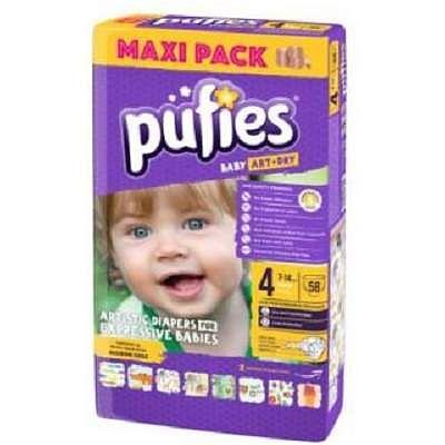 pufies Scutece nr. 4 Pufies Baby Art Maxi, 7-14 kg, 58 bucati